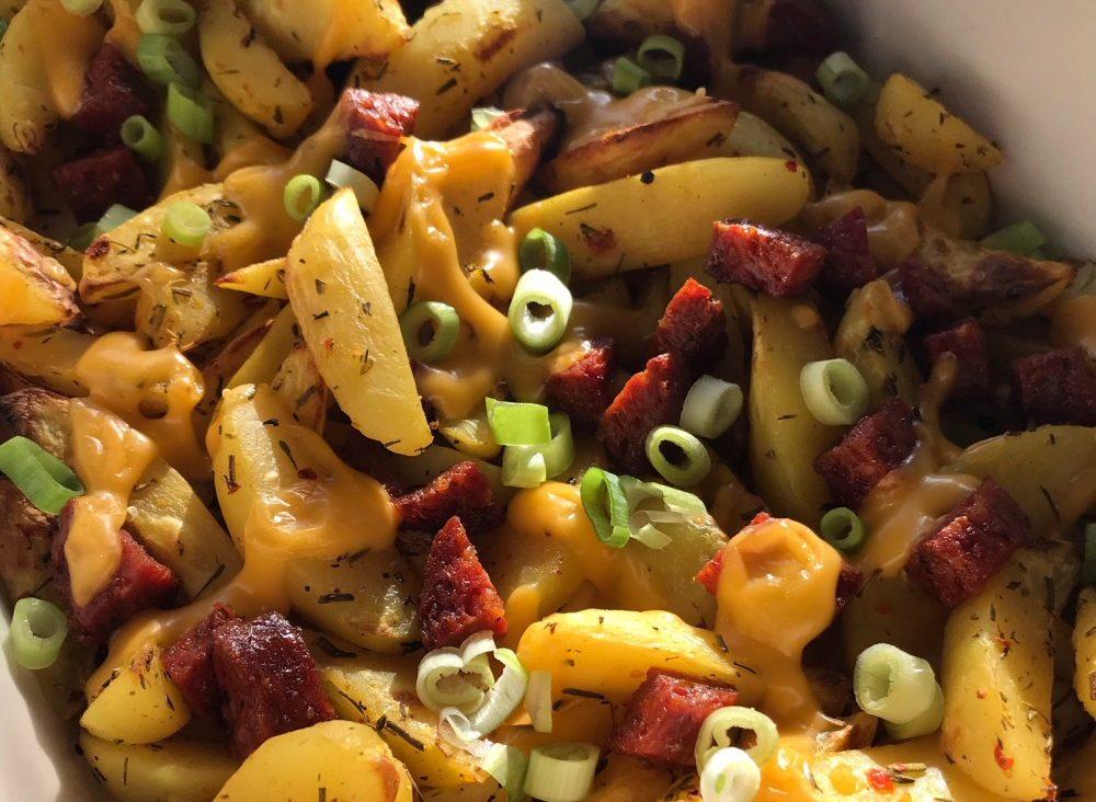 aardappelpartjes uit de oven met chorizo