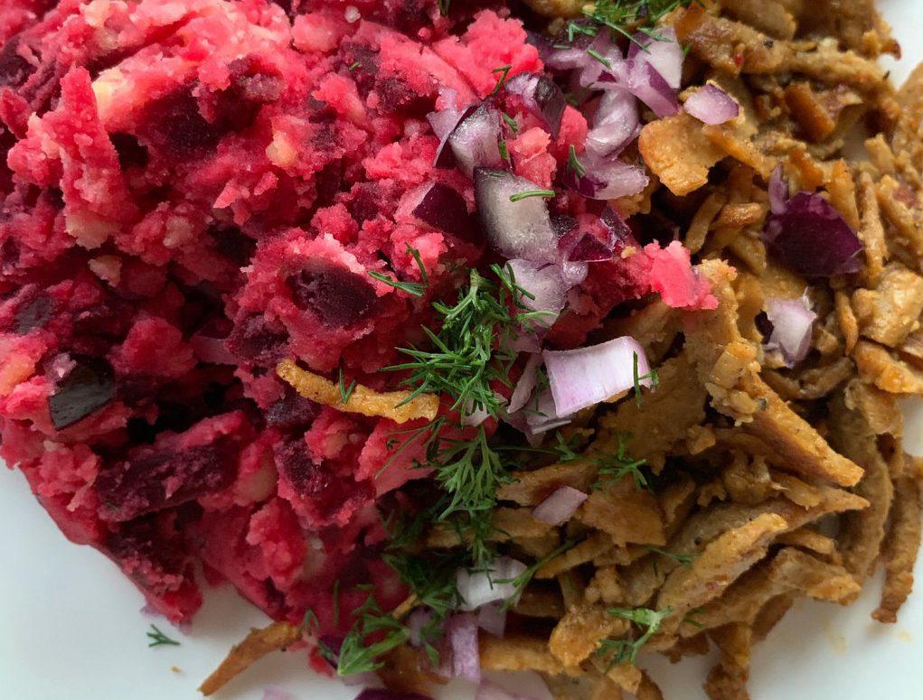 bietjesstamp met vega shoarma en rode ui