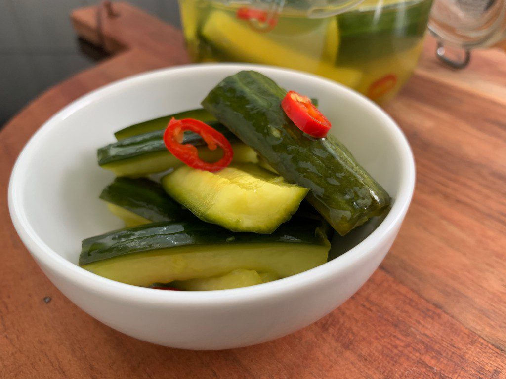 zoet zure komkommer recept