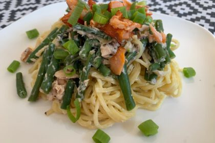 Spaghetti met haricots verts foto