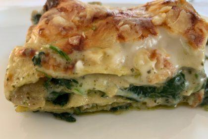 vega lasagne met romige pestosaus foto